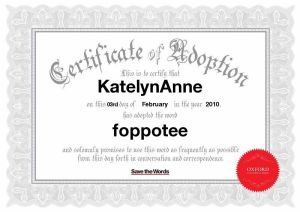 Certificate of Word Adoption!