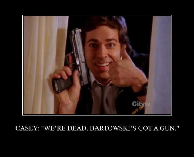 Chuck with a gun