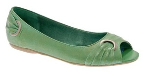Green Peep-Toe Flats